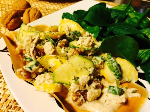Tuna Dijon Coconut Wrap Recipe with walnuts and spinach