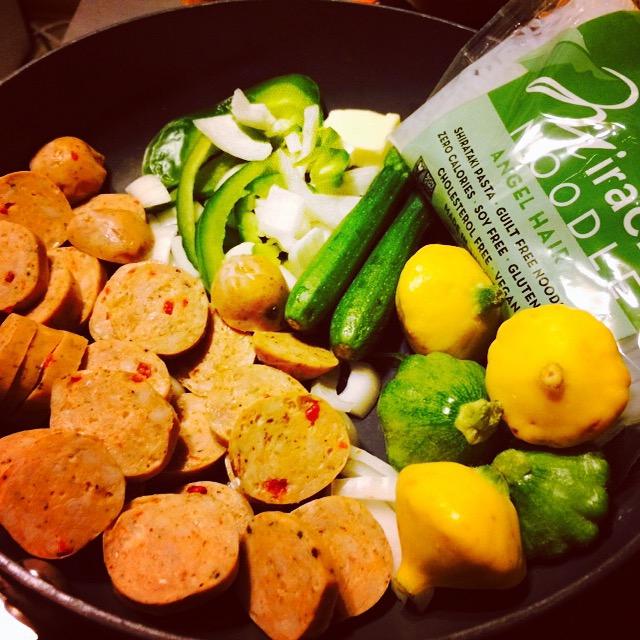 Chicken Sausage Vegetables And Shirataki Noodles Recipe