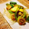 Shirataki Noodles Recipe with Chicken Sausage, Bell Peppers, Onions, and Summer Squash