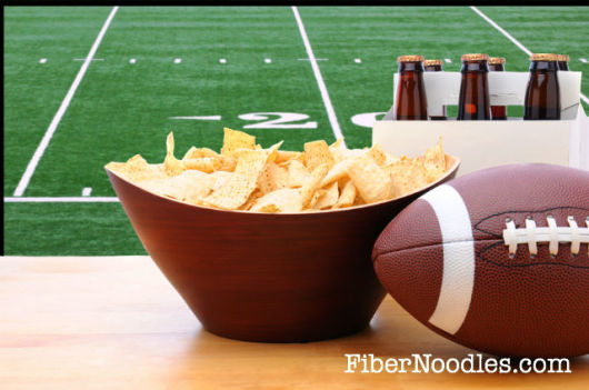 Healthy Super Bowl Party Recipes Football beer, chips FiberNoodles.com