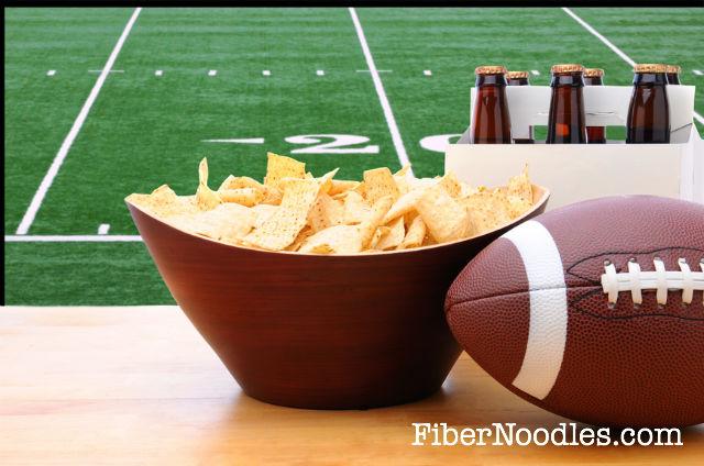 Healthy Super Bowl Party Recipes Football beer, chips FiberNoodles.com